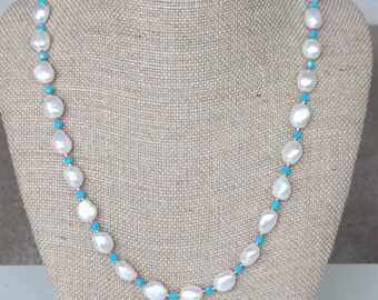 "Freshwater Pearl, Turquoise Swarovski(tm) and Copper Necklace, 21""-23 1/4""                        (BHJ00047)"