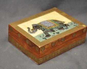 Vintage Wooden Elephant Box Decorative