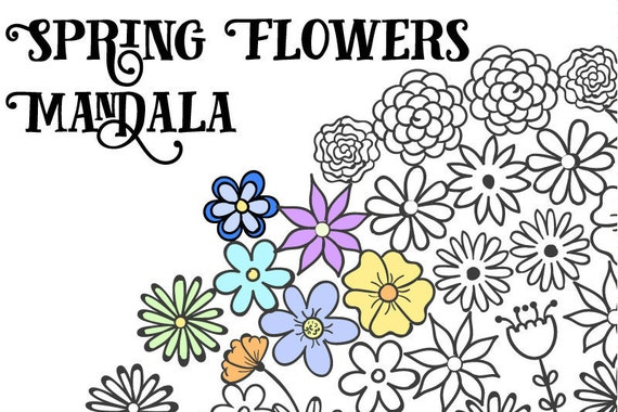 Flower Coloring Pages for Adults Floral Mandala Spring