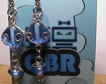 Blue Wire Wrap Glass Bead Earrings