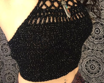 Sparkly boho detailed halter top