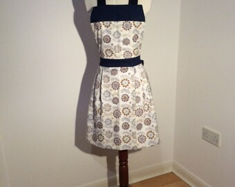 Blue flower and bumblebee apron