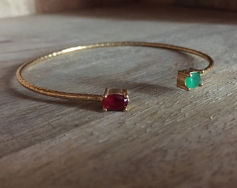 Bangle Bracelet two red and green stones