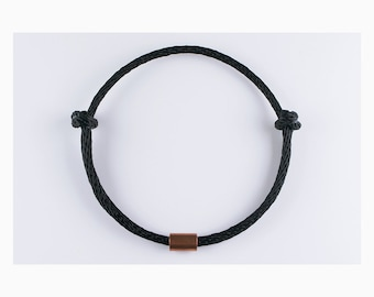 Adjustable, Black Rope Choker, Necklace w/Copper - Minimal Capsule Jewelry