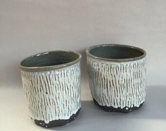 B&W cup // handmade // ceramic tumbler // handcarved