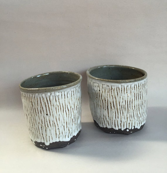 B&W cup // handmade // ceramic tumbler // handcarved