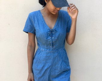 NEW! Lace Up Romper, Denim Romper, Women's Rompers, Rompers, Summer Rompers, Laced Up Tops, Laced Up, Lace Rompers, Denim Top, Denim Shorts