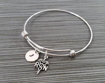Registered Nurse Bangle Bracelet- RN Charm Bracelet - Adjustable Bracelet Bangle - Nurse Bracelet - Initial Bracelet - Gift for RN Bracelet