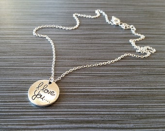 Silver Love Necklace - I Love You Disc Charm Necklace - Personalized Necklace - Custom Gift - Initial Necklace - Mom Necklace Daughter Gift