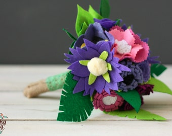 Felt Wedding Bouquet, Alternative Wedding Bouquet,Felt Flower Bouquet,Handmade Wedding Flower Arrangement,Purple Wedding,Purple Felt Flowers