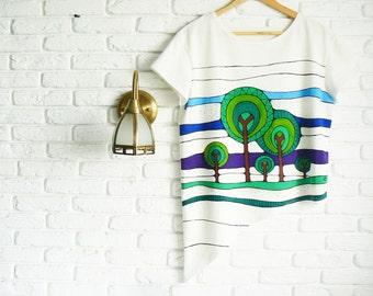 White t shirt for women Girlfriend Gift Funny t shirt Hand painted graphic t shirt Asymmetrical Graphic tee Womens t shirt design
