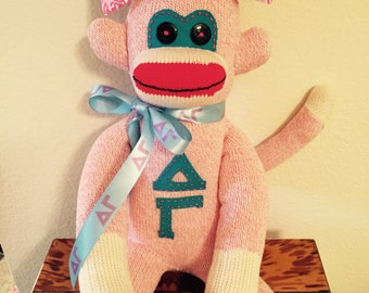 Delta Gamma Sorority Sock Monkey Mascot