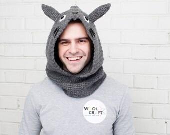 Totoro Hooded Scarf | Totoro Crochet Hood | Totoro | Free Shipping | Sale