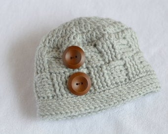 Ready to Ship!  0-3 Month Crochet Beanie, Crochet Hat, Basket Weave Beanie, Baby Boy Hat