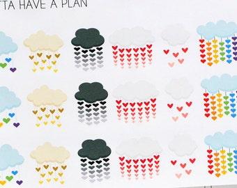 Planner Stickers Cloud and Rain heart for Erin Condren, Happy Planner, Filofax, Scrapbooking