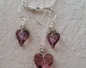 """Sterling Silver, Amethyst Swarovski Wild Hearts 17"""" Necklace and Earrings set"""