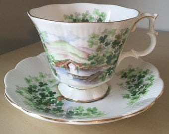 "Royal Albert ""Emerald Isle"" Ancestral Series Vintage Teacup and Saucer, Green Shamrock Tea Cup and Saucer, English China"
