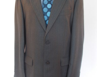 Vintage mens Irish Worsted Pure new wool navy herringbone jacket blazer by Douglas size Large