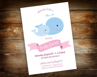 Baby Whale Baby Shower - Mommy and Baby Whale Invitation - Baby Shower Invitation - Baby Whale - 5 x 7 Instant Download - 0026-P