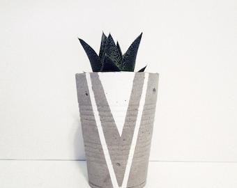 Concrete Cup Planter - White Arrow