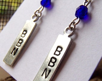 University of Kentucky Earrings - BBN - Big Blue Nation Earrings - Kentucky Wildcats Earrings - Handstamped Metal Earrings
