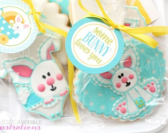 Some BUNNY loves You Printable Cupcake Toppers, Easter Party Favor Tags, Easter Party, Happy Easter Party Circles, Easter Party Tag
