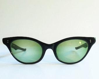 Vintage Sterling Optical Black Cateye Sunglasses Frames, Black Cateye Glasses Frames with Wraparound & Scalloped Arms Atomic Design