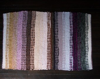 Hand Made Woven Rag Rug Purple Gold Peach Brown Gray