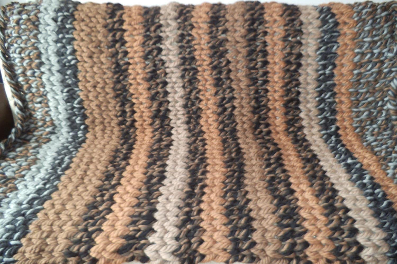 Finger Knitting Blanket : Super chunky knit blanket bulky throw hand