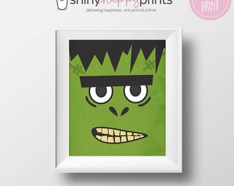 Frankenstein Digital Print, Halloween Download Art, Cute Green 8x10 Frankenstein Monster,Trick or Treat Party Print, Shiny Happy Prints