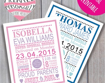 New baby announcement cards - Personalised printable - Digital print - A6 size - Personalized