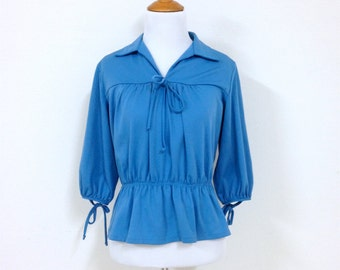70s Blue Peasant Tunic Blouse with Bow Stretchy Top Size Medium