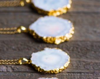 Solar Quartz Necklace,White Stalactite Necklace,Stalactite Slice,Gold Edged Stalactite,Stone Necklace,Gift for her,OOAK,BOHO,Raw stone jewel