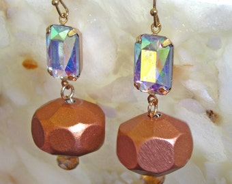 Iridescent Faceted Crystal with Copper Wood Beads and Crystal ~ Shepard Hook Earrings
