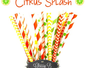 Yellow, Lime Green and Orange Paper Straws (CITRUS SPLASH Theme) Pack of 25 Straws  -  Citrus Themed Birthday Party, Baby Shower