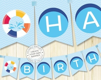 Pool birthday party banner, pool banner, alphabet bunting, pool party banner, printable banner template, instant download PDF
