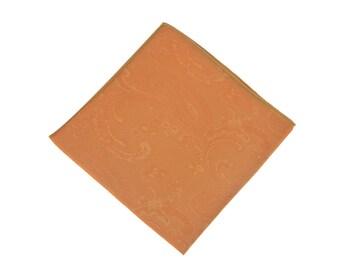 Gold Paisley Pocket Square.Gold Wedding Pocket Square.Silk handkerchief