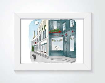 Cats in Paris Bookstore Librairie Watercolor with Hidden Kitty Cat - Archival Giclee Print
