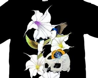 Birds skull and Datura Flowers