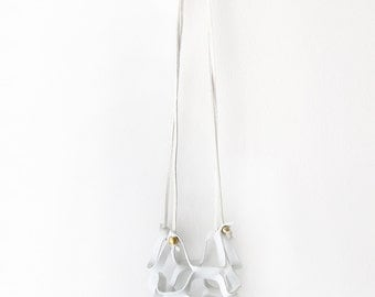 Soft White Leather Hanging Planter