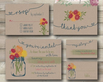 Bridal Shower Invitation, Printable Bridal Shower Invitation, Rustic Shower Invitations, Floral Bridal Shower Invites, Brown Paper Download