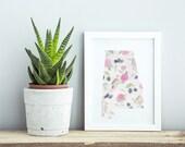 Alabama State Print- State Flower, Fruit, & Bird Pattern