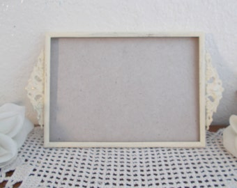"Vintage Off White Ivory Ornate Picture Frame 5"" x 7"" Photo Decoration Mid Century Hollywood Regency Wedding"