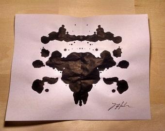 Rorschach NO 25 | Ink Blot Original Unframed Art | Black Ink Painting