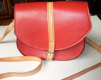 """Leather Shoulder Bag Made in the USA by local craftsman Red is the new """"IN"""" color Designer bag retails 130"""