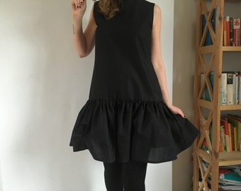 Black Summer Linen Dress With Frill 100% Baltic Linen