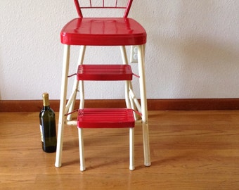Items Similar To This Little Stool Red Wooden Step Stool