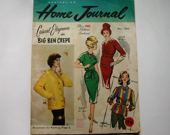 Australian Home Journal Magazine with free patterns - May 1962