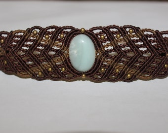Brown/Gold Micro-Macrame Hand Cuff/Arm Band with Amazonite Cabochon