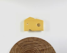 Cheese brooch in porcelain and stainless steel. Cheese pin, yellow porcelain. Minimalist jewelry